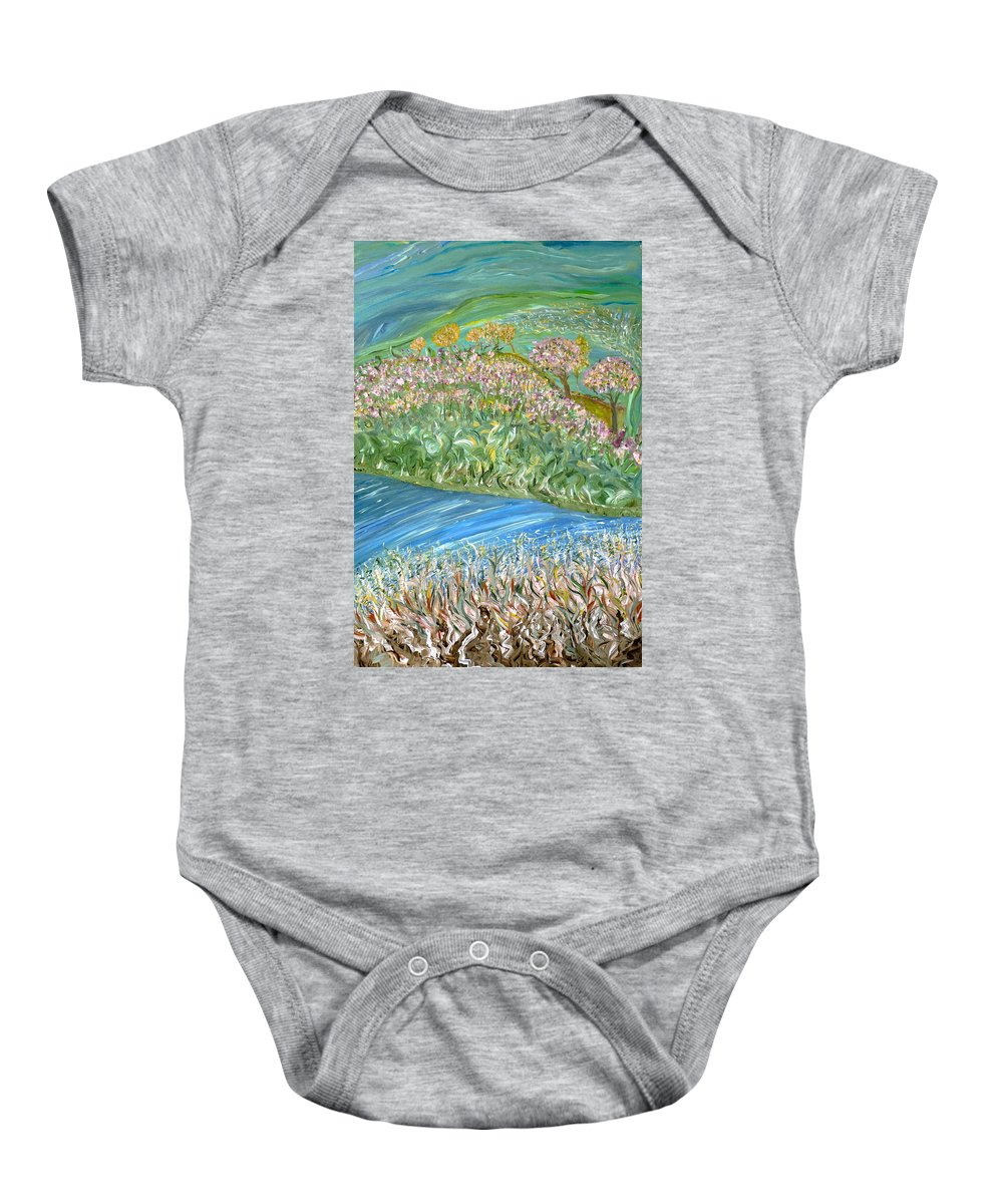 Whimsical Outdoor Scene Baby Onesie featuring the painting Just One Look by Sara Credito