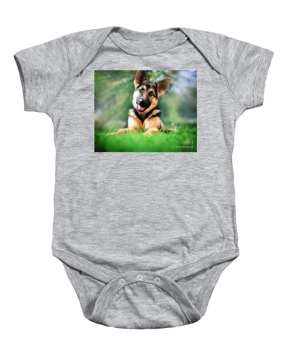 Female Baby Onesie featuring the photograph K9 Cute by Edmund Nagele