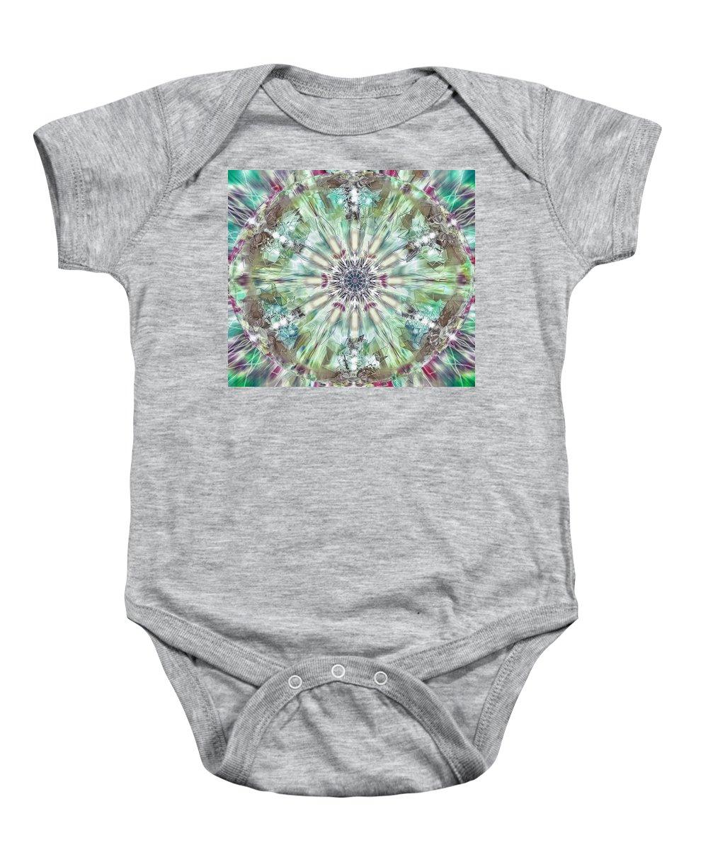 Kaleidoscope Baby Onesie featuring the digital art Kaleidoscope by Savannah Gibbs