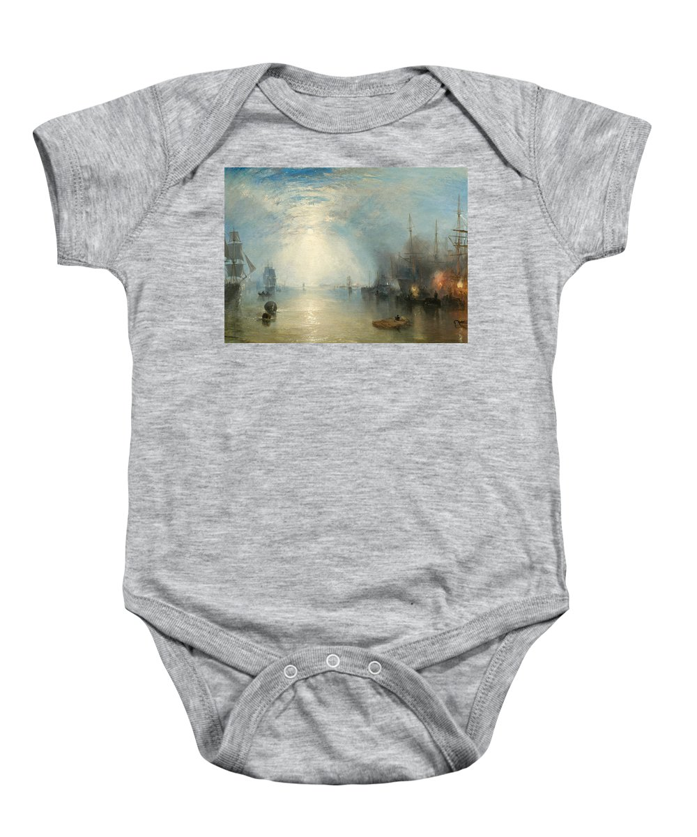 Shipping; Industry; Coal; Fire; Night; Moon; Sailing; Sail; Boat; Burning; Coal; Kealboat; Keels; Cargo Baby Onesie featuring the painting Keelmen Heaving In Coals By Moonlight by Joseph Mallord William Turner