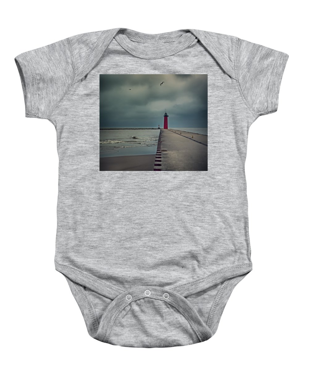 Lighthouse Baby Onesie featuring the photograph Kenosha North Pier Lighthouse - Dark And Stormy by Martin Belan