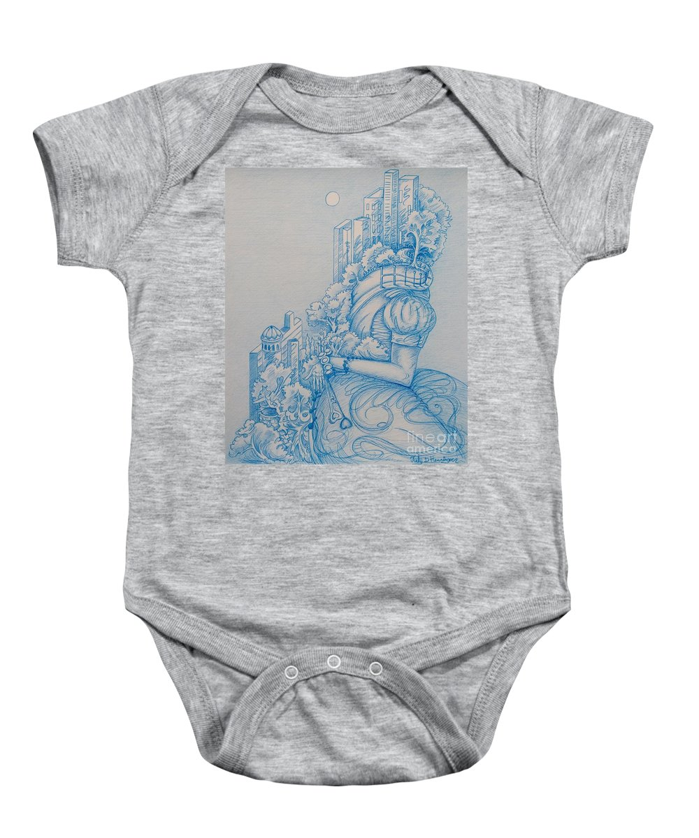 City Life Baby Onesie featuring the drawing Keys To The City by Judy Henninger