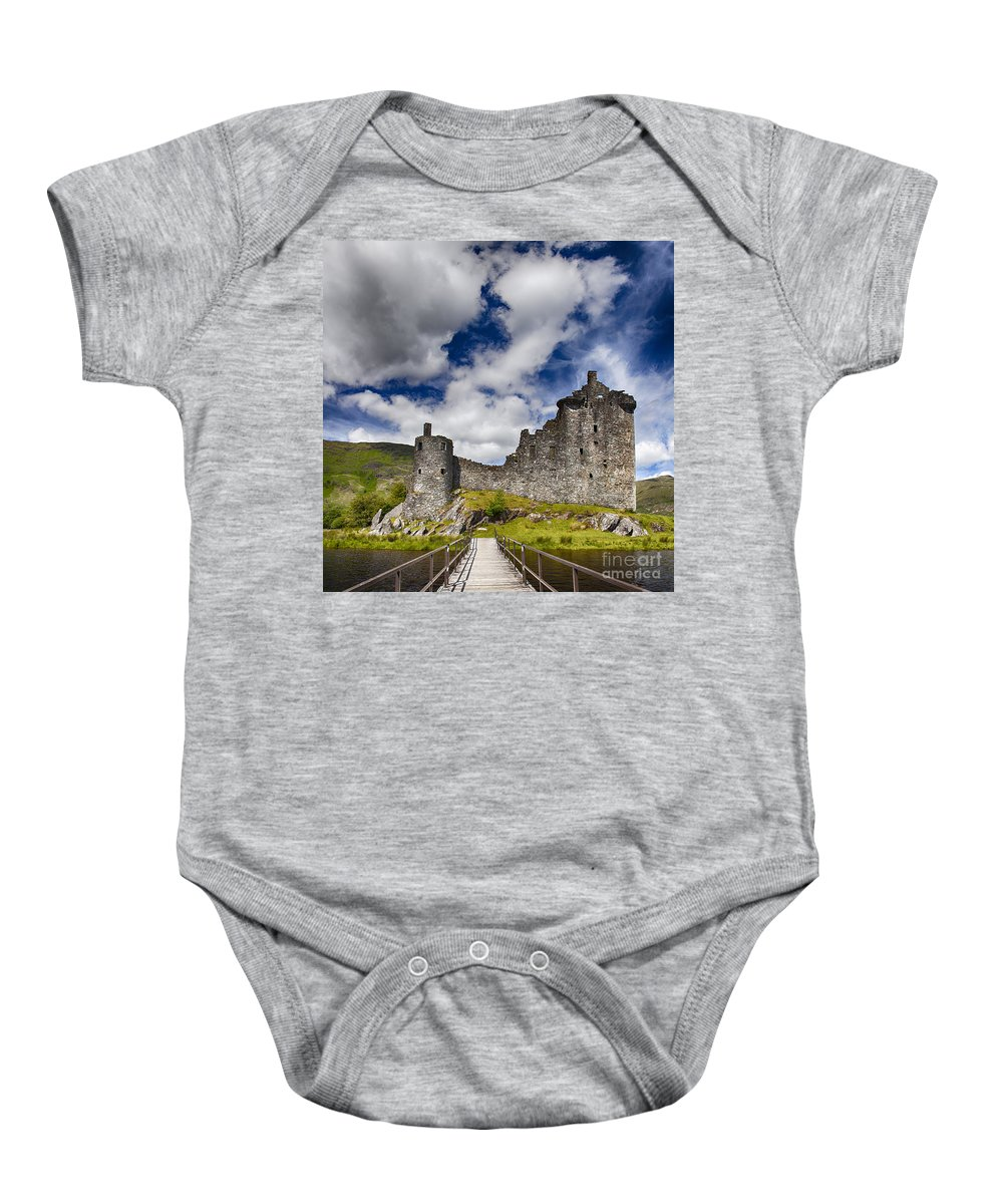 Castle Baby Onesie featuring the photograph Kilchurn Castle Scotland by Sophie McAulay