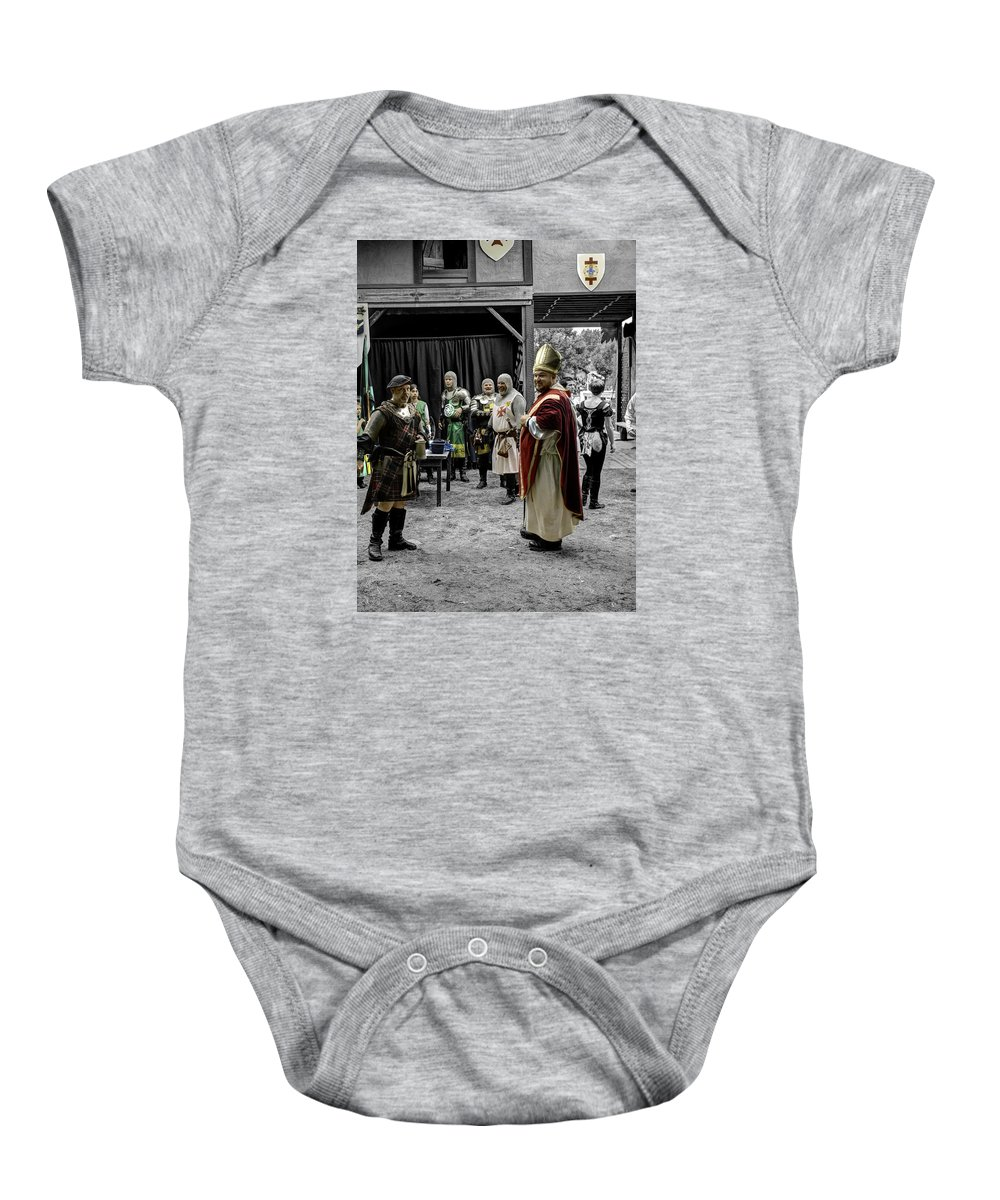 King Macbeth Baby Onesie featuring the photograph King Macbeth Of Scotland With The Bishop by John Straton