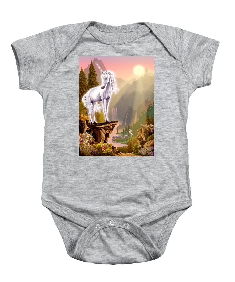 Animal Baby Onesie featuring the photograph King Of The Valley by Garry Walton