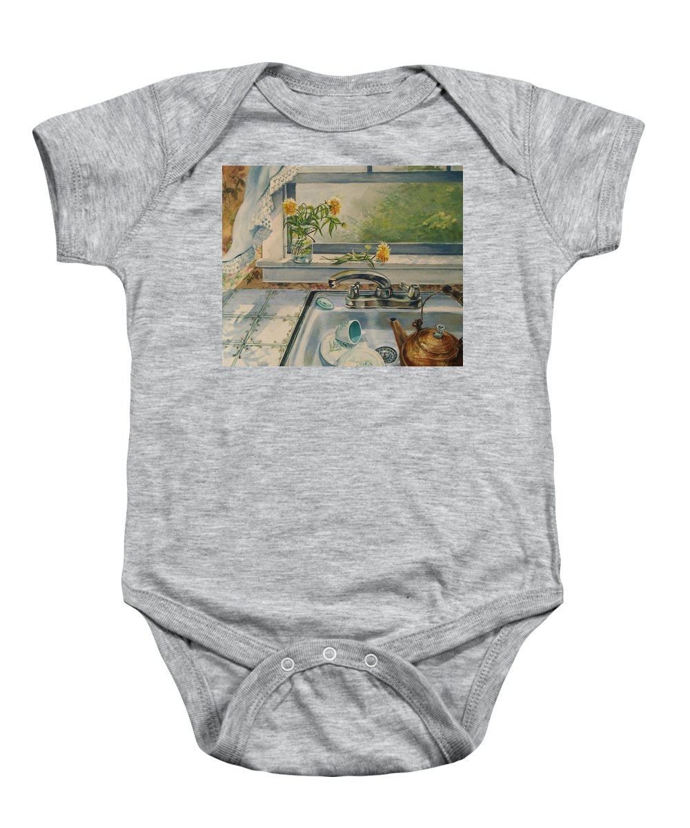 Yellow Flowers Baby Onesie featuring the painting Kitchen Sink by Joy Nichols