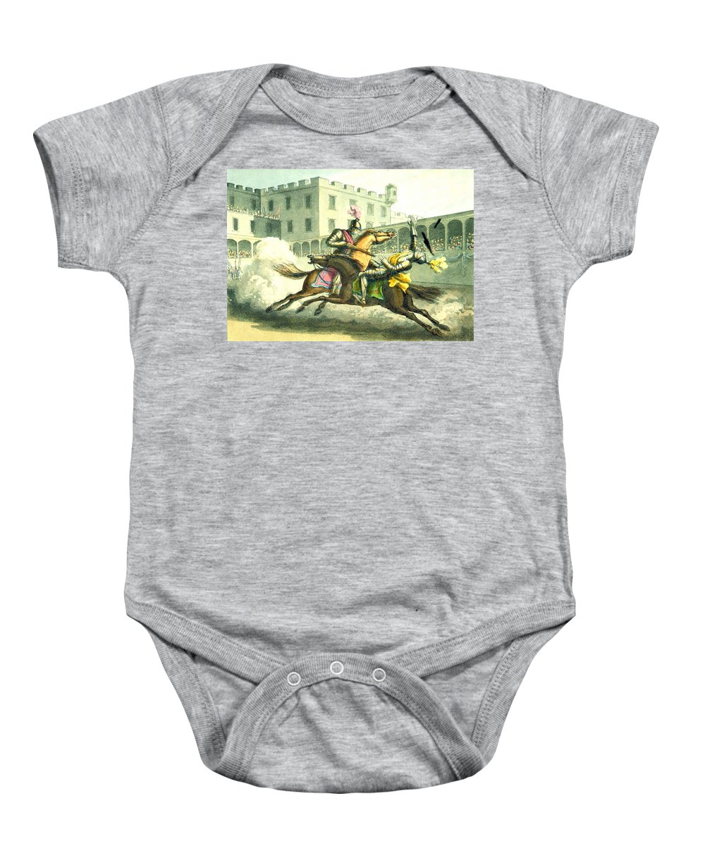 History Baby Onesie featuring the photograph Knights Jousting by British Library