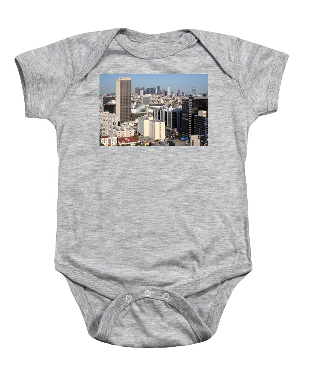 Koreatown Baby Onesie featuring the photograph Koreatown Area Of Los Angeles California by Bill Cobb