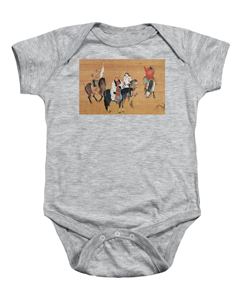 13th Century Baby Onesie featuring the painting Kublai Khan Hunting by Granger
