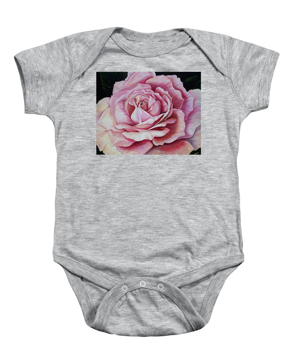 Rose Painting Pink Rose Painting  Floral Painting Flower Painting Botanical Painting Greeting Card Painting Baby Onesie featuring the painting La Bella Rosa by Karin Dawn Kelshall- Best