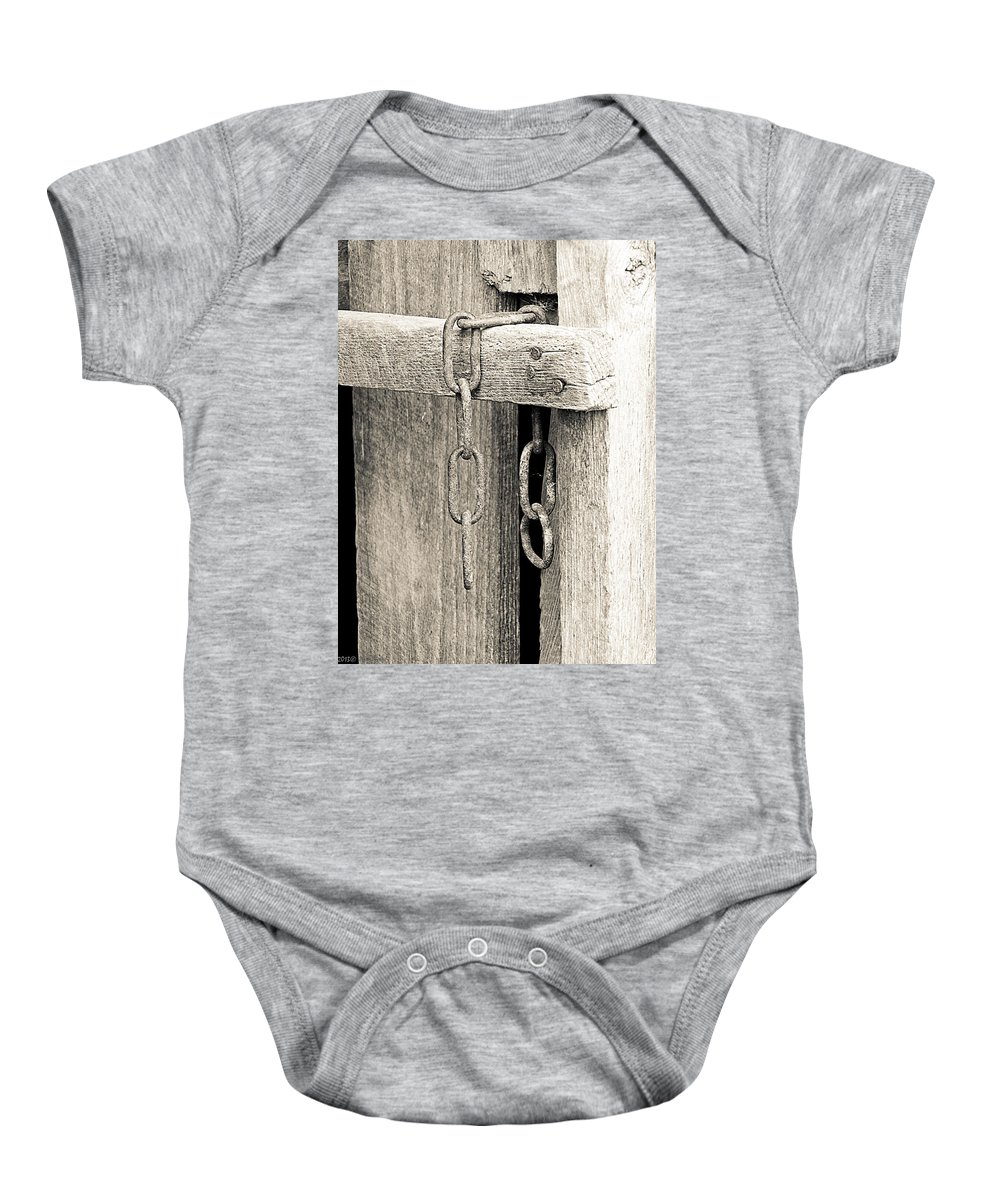 Chain Baby Onesie featuring the photograph Ladder Chain Bw by Nick Kirby
