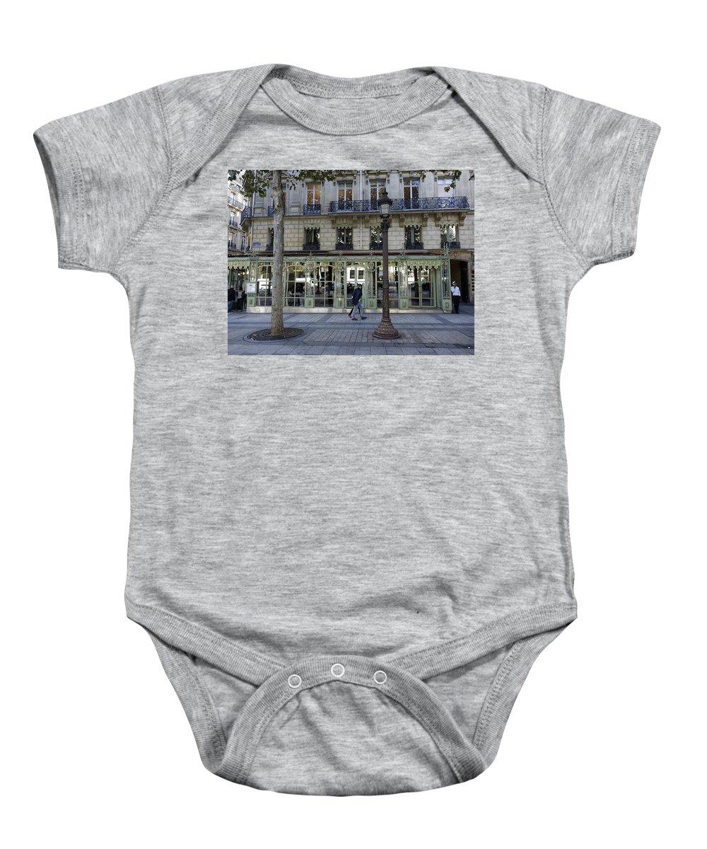 Paris Baby Onesie featuring the photograph Laduree On The Champs De Elysees In Paris France by Richard Rosenshein