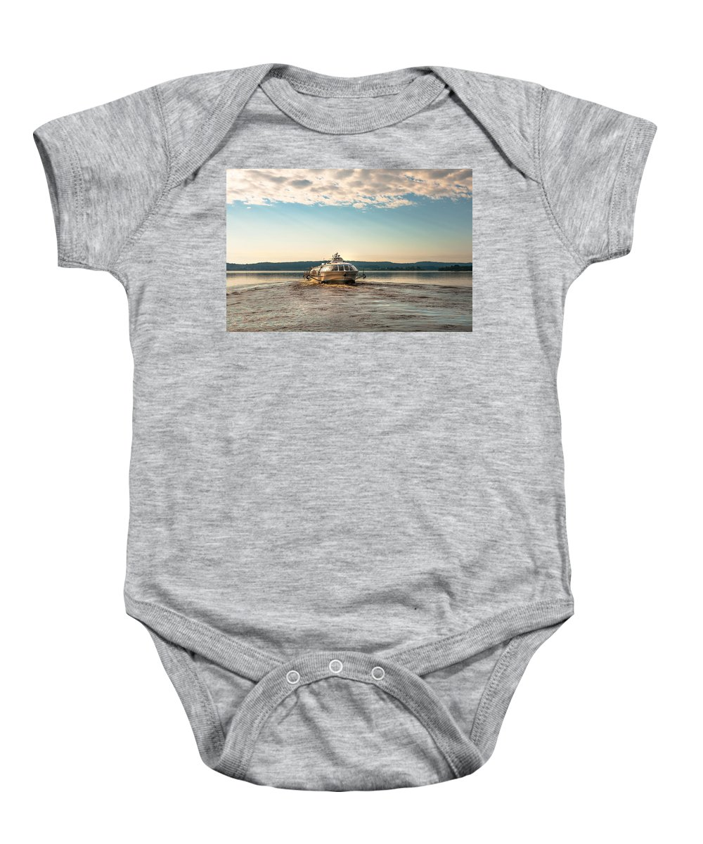 Nature Baby Onesie featuring the photograph Ladoga Lake Transfer by Jenny Rainbow