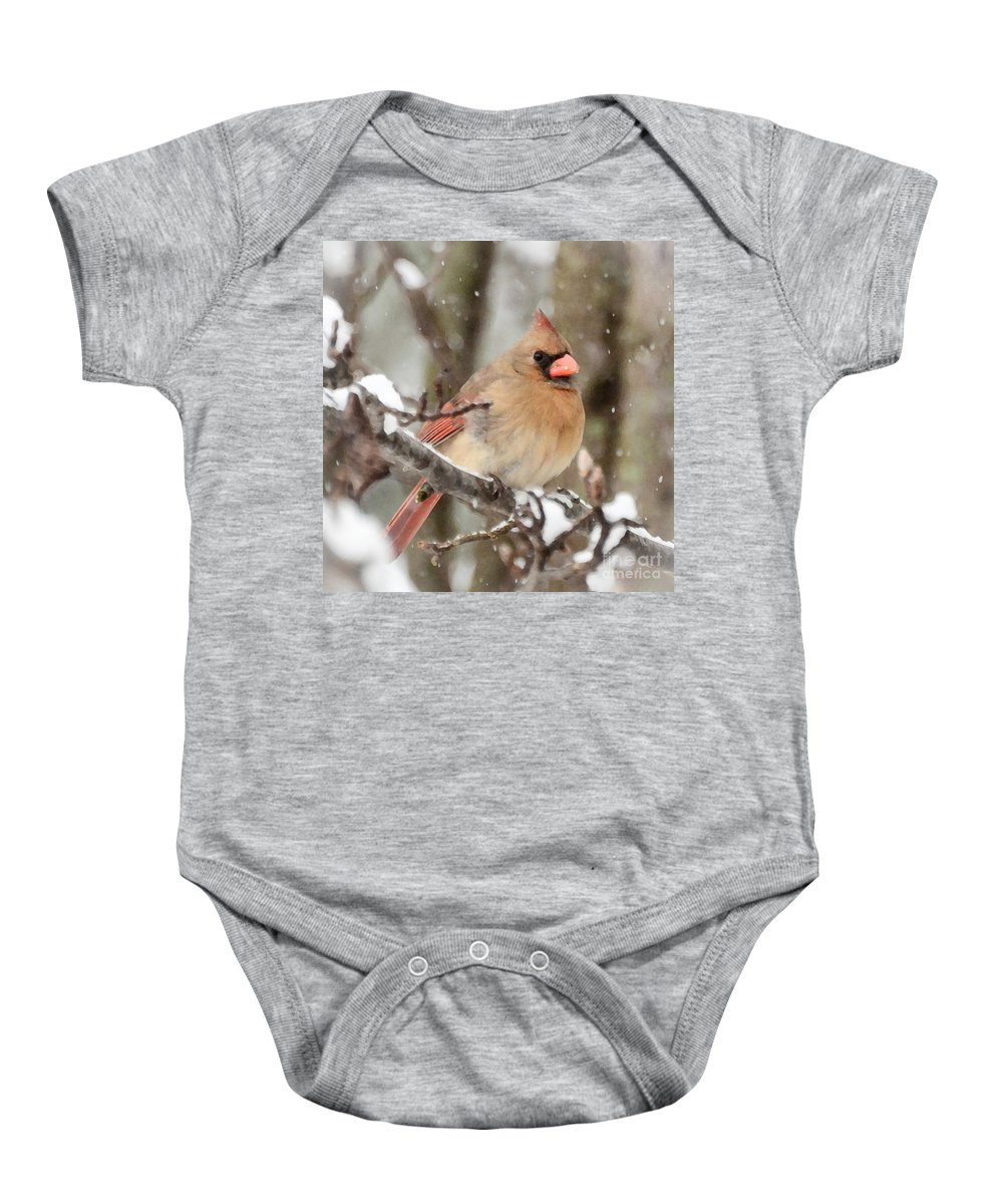 Female Cardinal Baby Onesie featuring the photograph Lady In The Snow by Kerri Farley