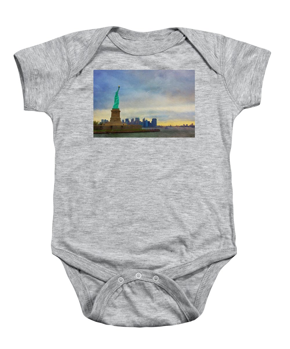 Liberty Baby Onesie featuring the photograph Lady Liberty by Kim Hojnacki