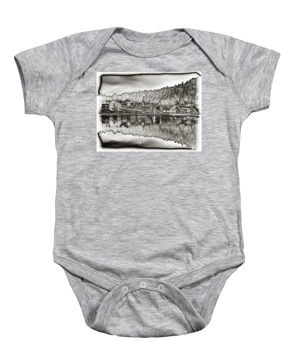 Lake House Baby Onesie featuring the photograph Lake House Reflection by Ron White