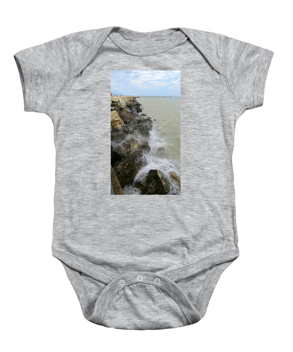 Rocks Baby Onesie featuring the photograph Lake Michigan Splash by Kay Novy