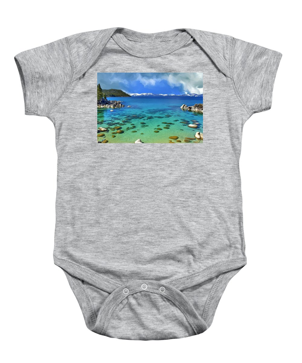 Lake Tahoe Baby Onesie featuring the painting Lake Tahoe Cove by Dominic Piperata