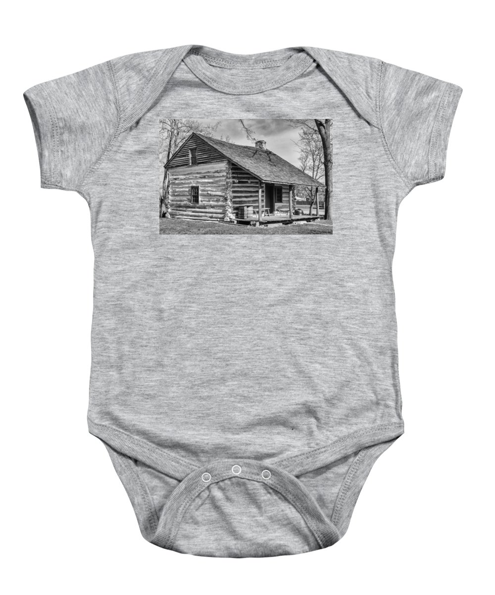 Clarence Ny Baby Onesie featuring the photograph Landow Log Cabin by Guy Whiteley