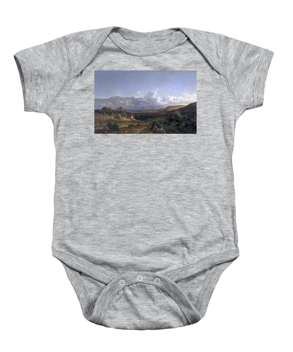 Carlos De Haes Baby Onesie featuring the painting Landscape In Dauphine by Carlos de Haes