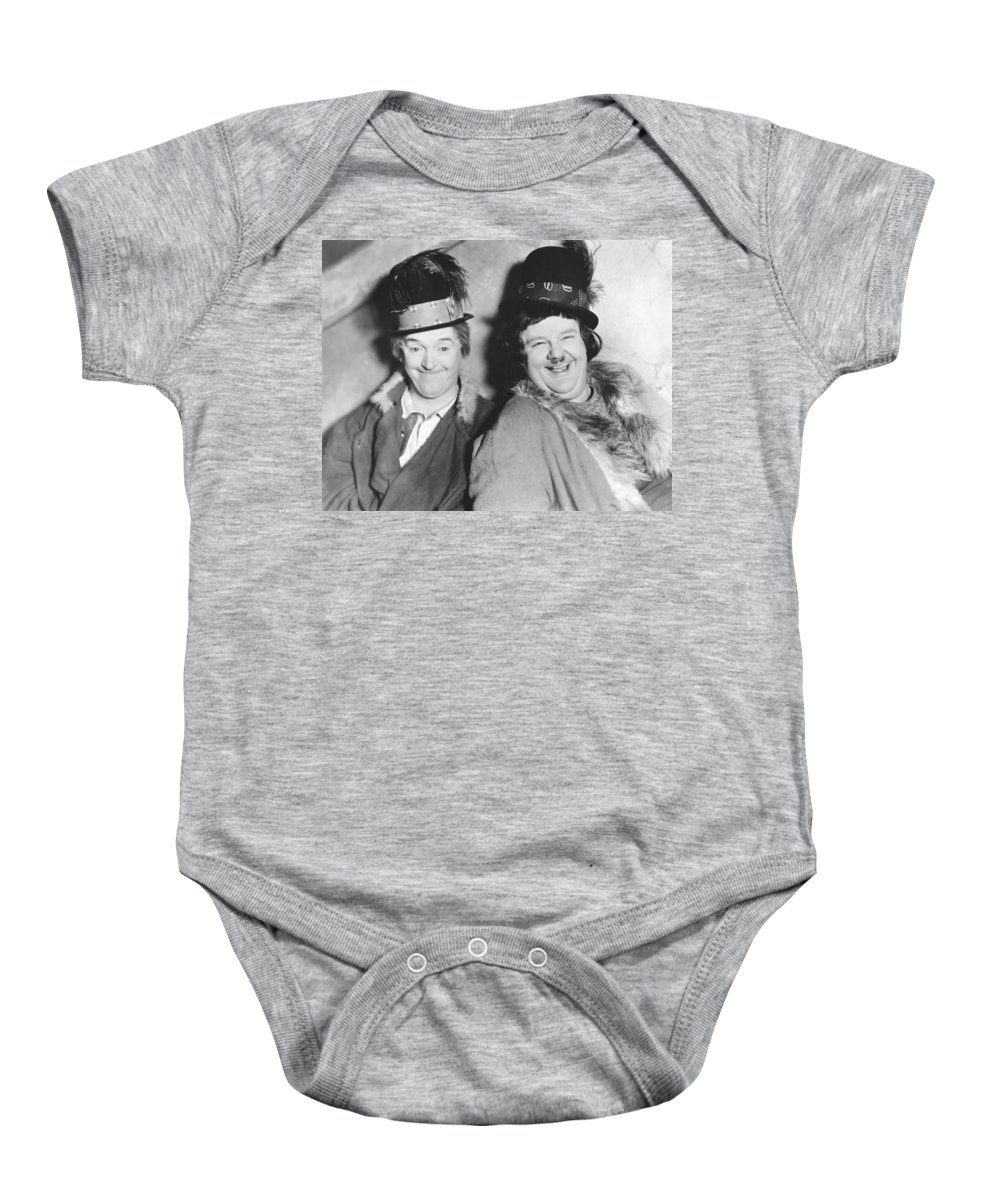 1928 Baby Onesie featuring the photograph Laurel And Hardy by Underwood Archives