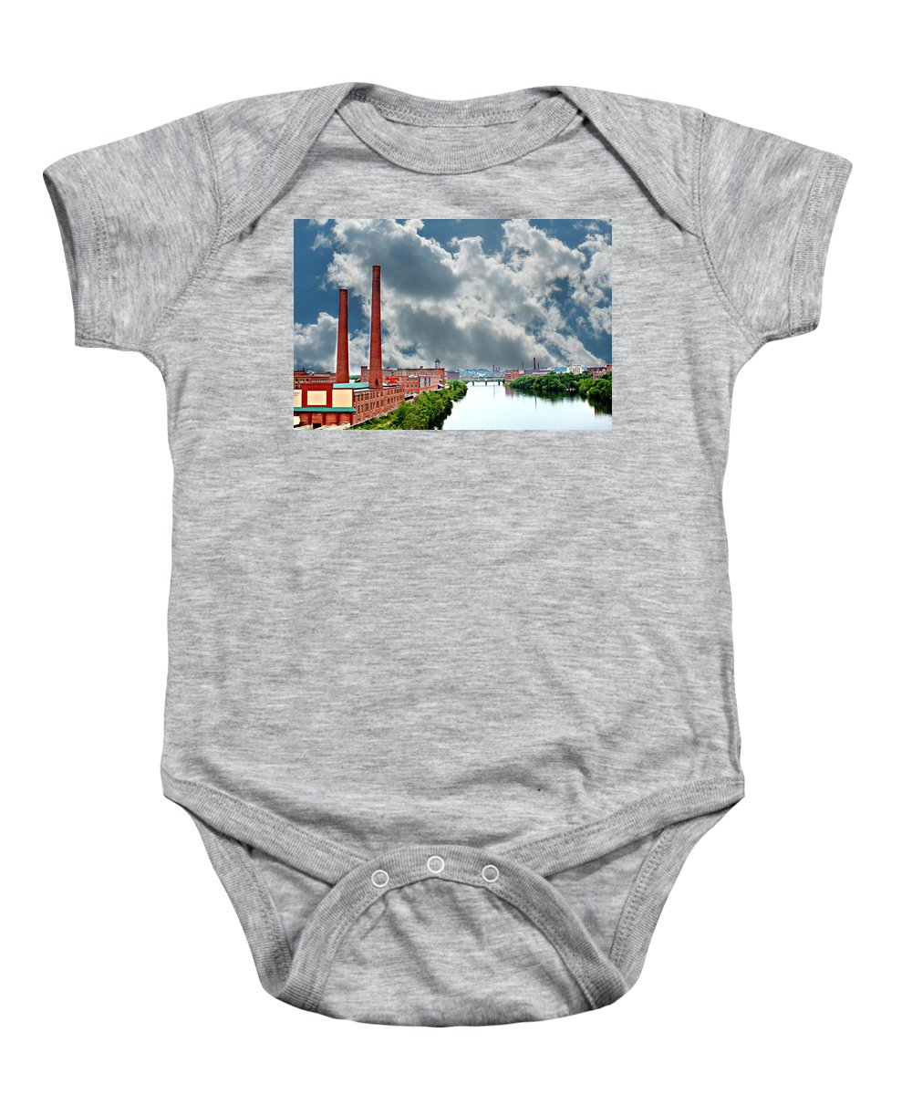 Lawrence Baby Onesie featuring the photograph Lawrence Ma Skyline by Barbara S Nickerson