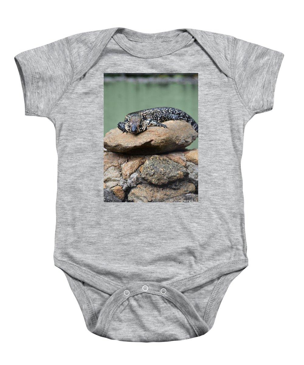 Lizard Baby Onesie featuring the photograph Lazy Lizard 2 by Stephanie Guinn