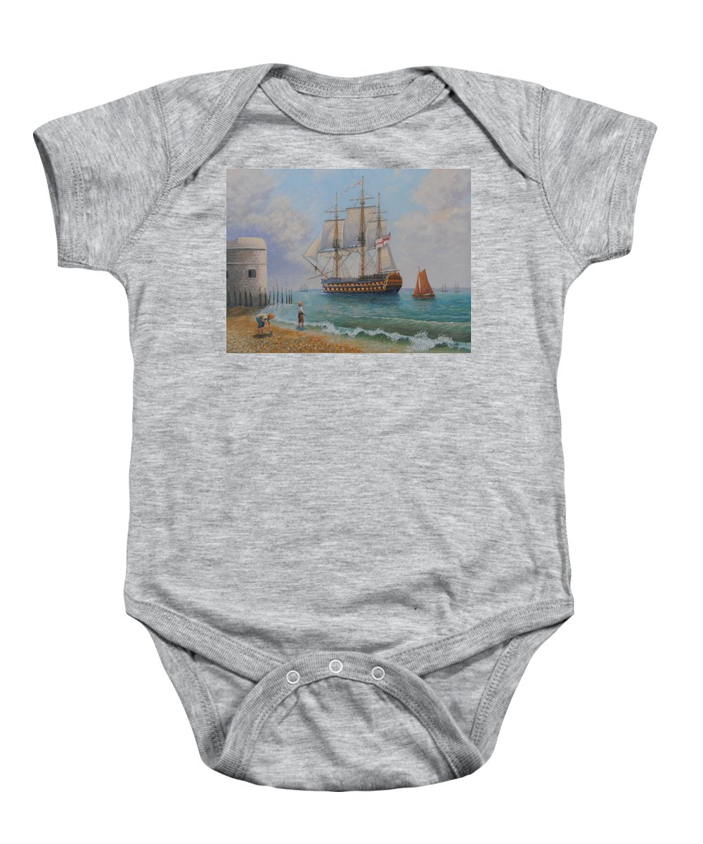 Oil Paintings Baby Onesie featuring the painting Leaving Portsmouth Harbour by Elaine Jones
