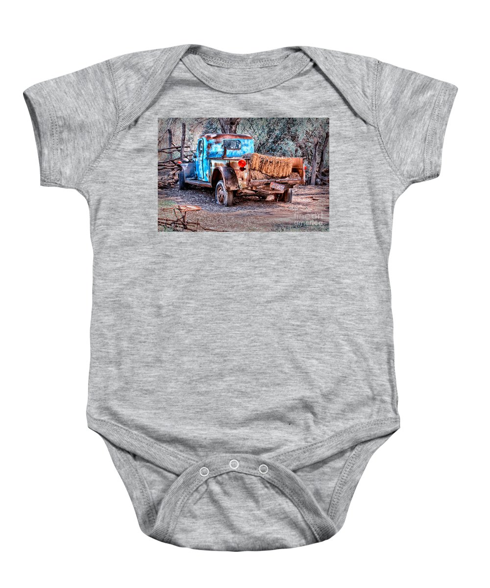 Truck Baby Onesie featuring the digital art Left Over Hay by Georgianne Giese