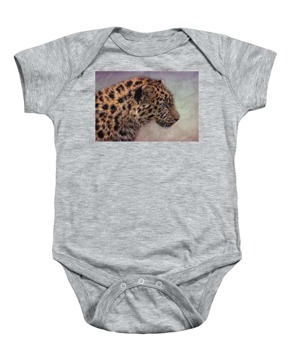 Portrait Baby Onesie featuring the photograph Leopard by Claudia Moeckel