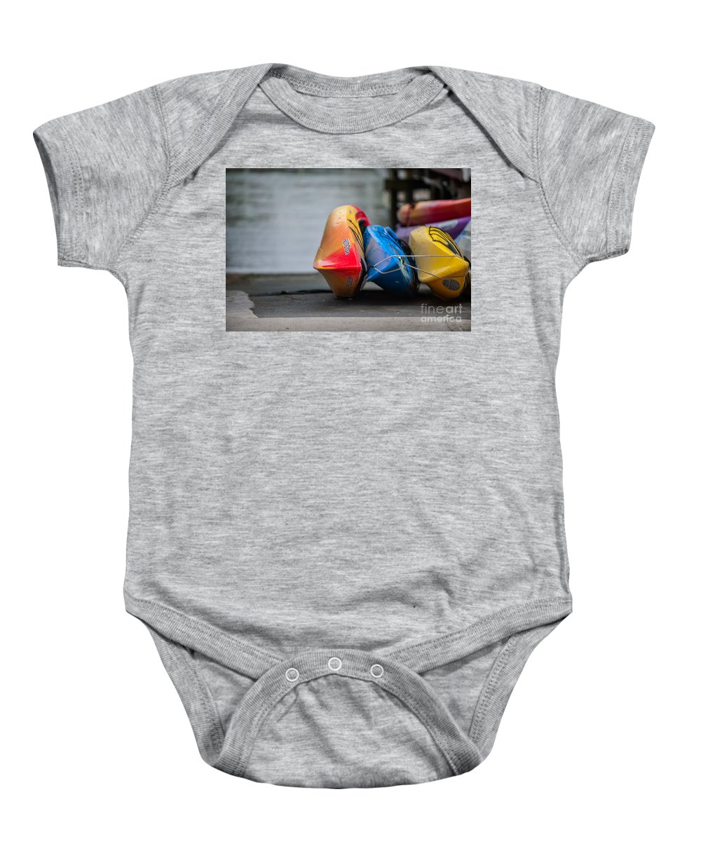 Kayak Baby Onesie featuring the photograph Lets Go Kayaking by Dale Powell