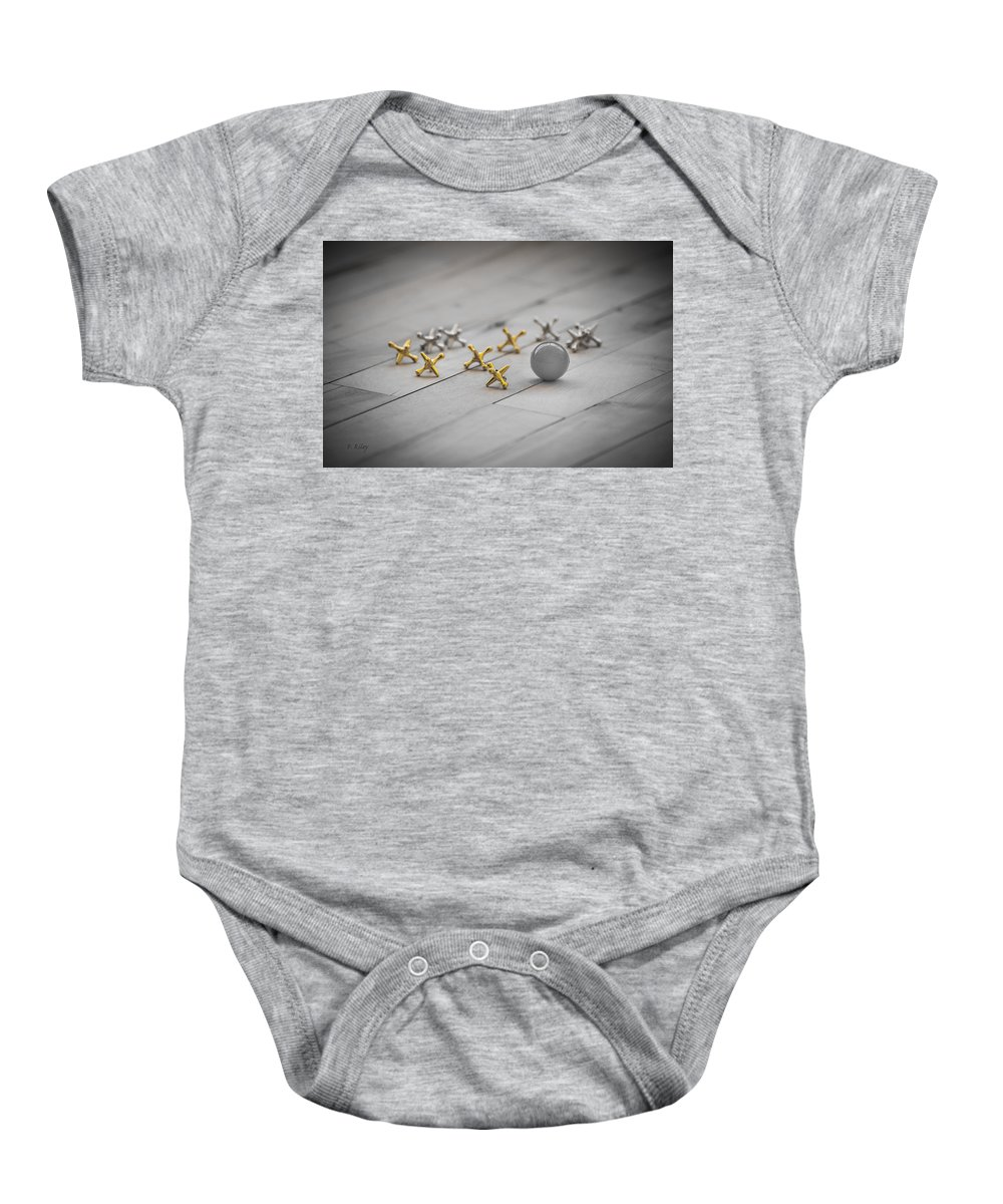 Jacks Baby Onesie featuring the photograph Lets Play Jacks by Fran Riley