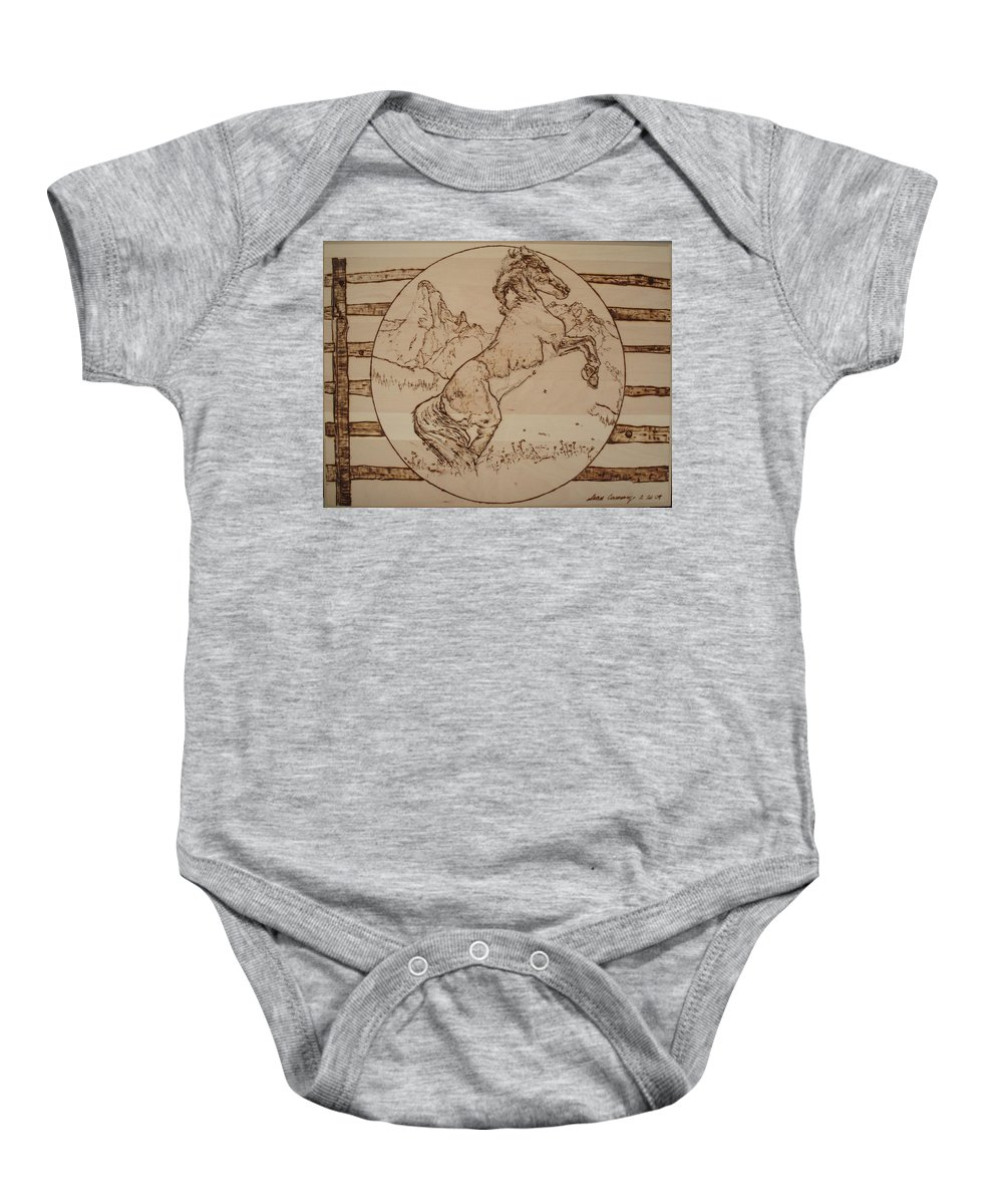 Pyrography Baby Onesie featuring the pyrography Wild Horse by Sean Connolly