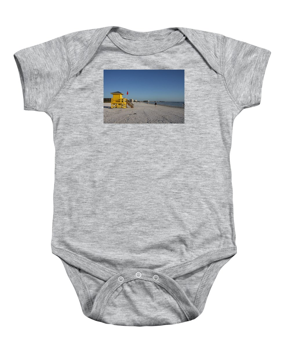 Lifegard Baby Onesie featuring the photograph Lifeguard On Siesta Key by Christiane Schulze Art And Photography
