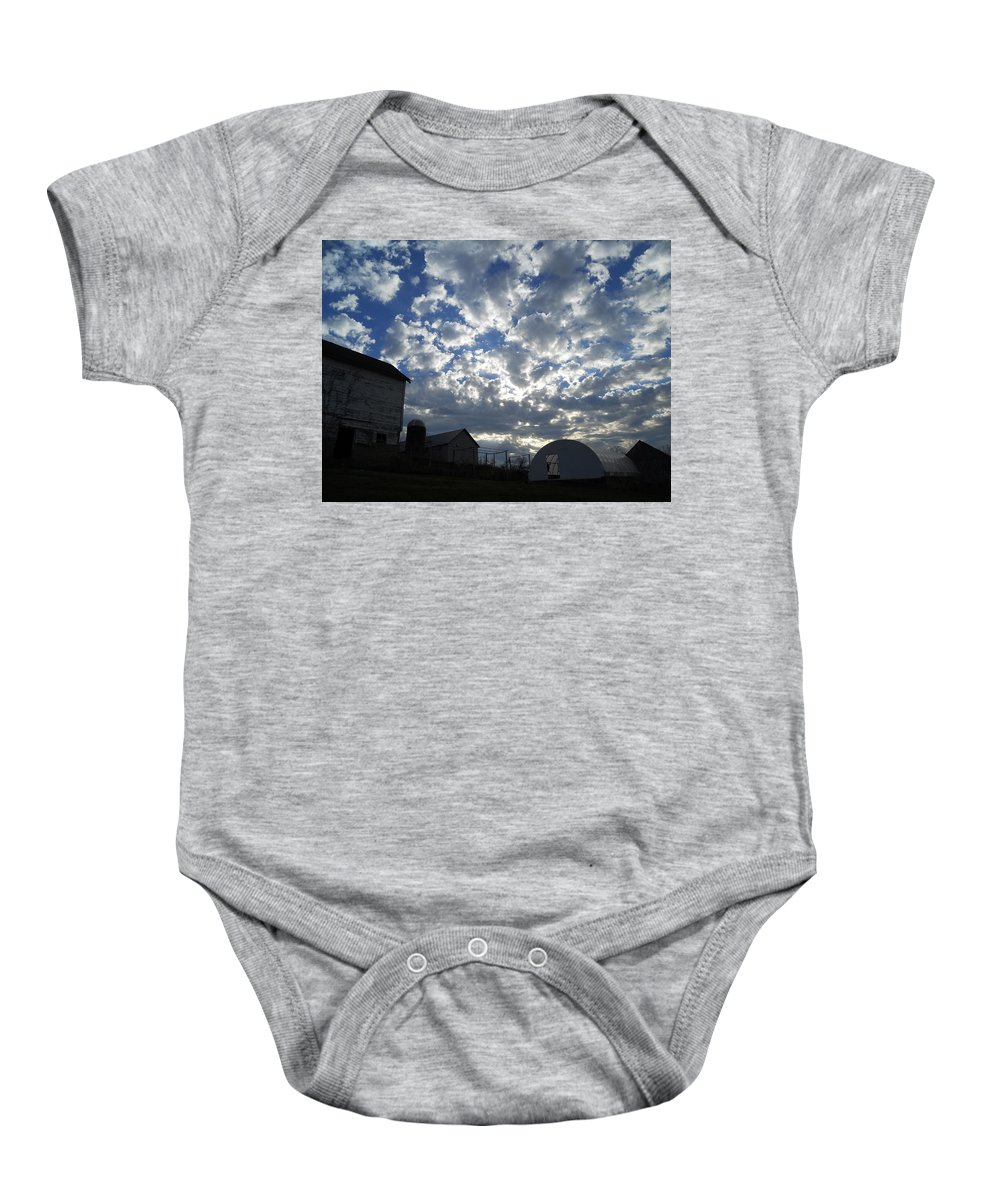 Buildings Baby Onesie featuring the photograph Light In The Sky by Coleen Harty