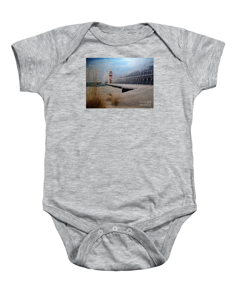 Seascape Baby Onesie featuring the painting South Haven Mi Lighthouse In Four Seasons-winter by Michael John Cavanagh