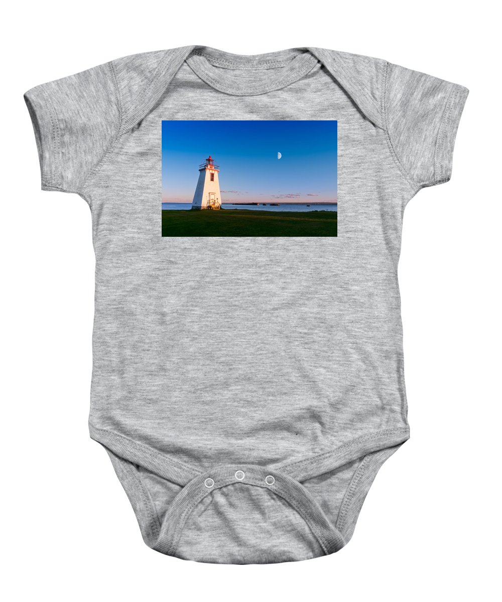 Beautiful Baby Onesie featuring the photograph Lighthouse In The Light From Moon And Sun by U Schade