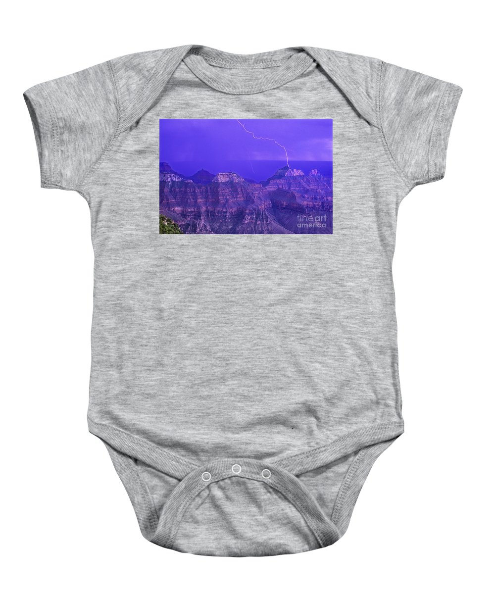 North America Baby Onesie featuring the photograph Lightning Storm North Rim Grand Canyon National Park Arizona by Dave Welling