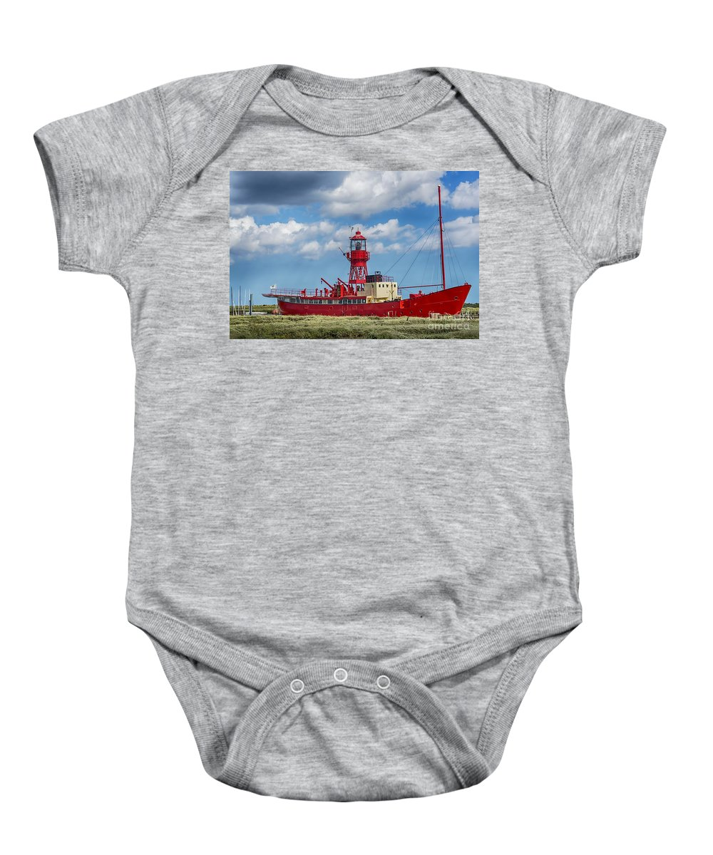 Tollesbury Lightship Canvas Baby Onesie featuring the photograph Lightship Lv15 Trinity 2 by Chris Thaxter