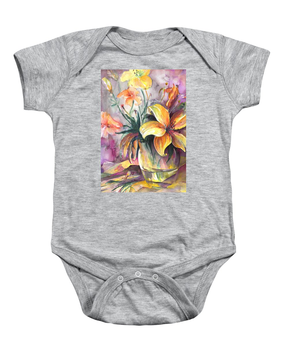 Flowers Baby Onesie featuring the painting Lilies In A Vase by Miki De Goodaboom