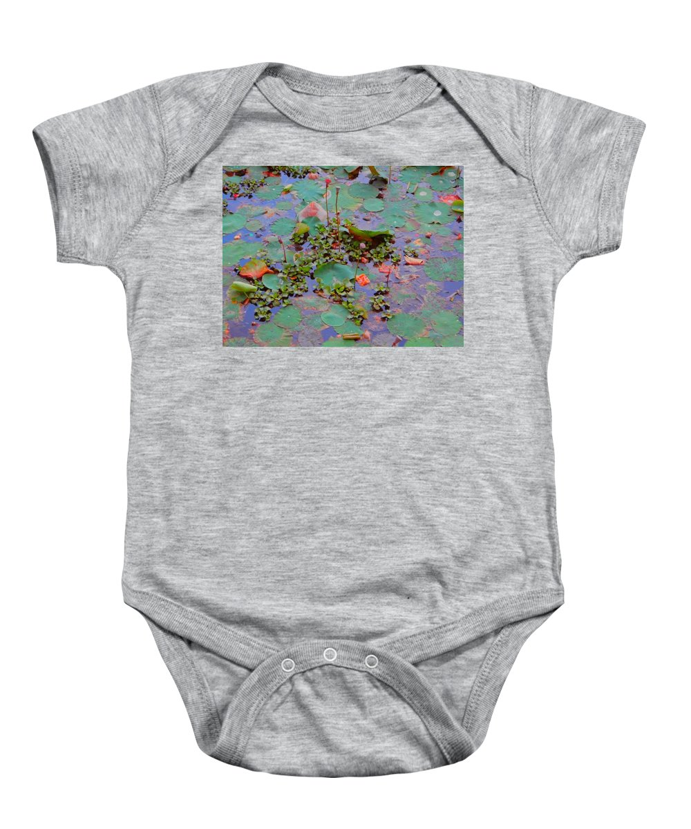 Lily Pond Baby Onesie featuring the photograph Lily Pond 3 by Usha Shantharam