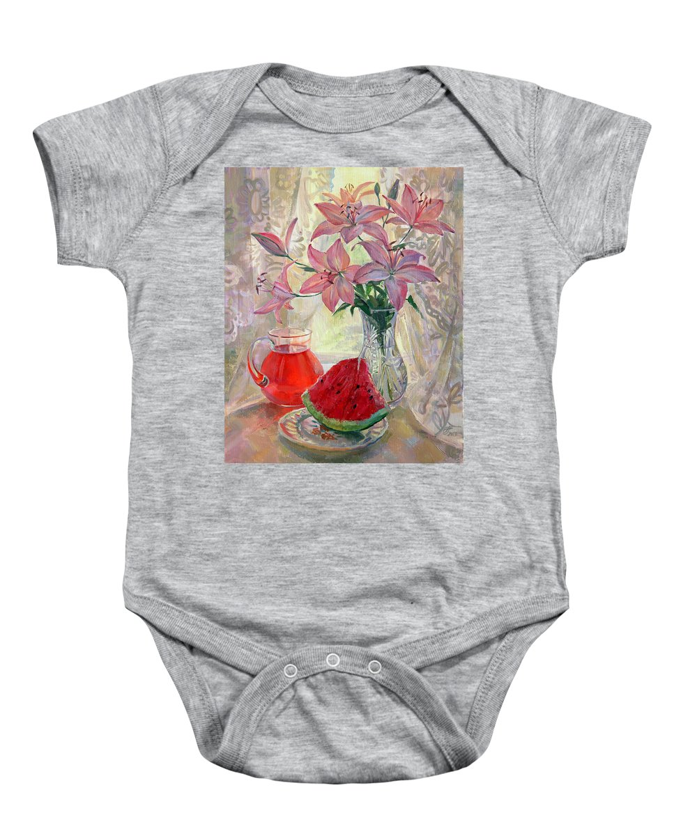 Lily Baby Onesie featuring the painting Lily With Watermelon by Galina Gladkaya