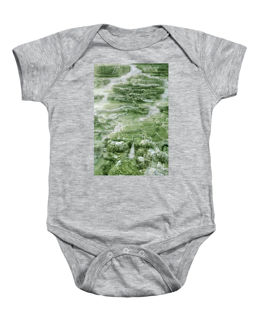 North America Baby Onesie featuring the photograph Limestone Detail Minerva Springs Yellowstone National Park by Dave Welling