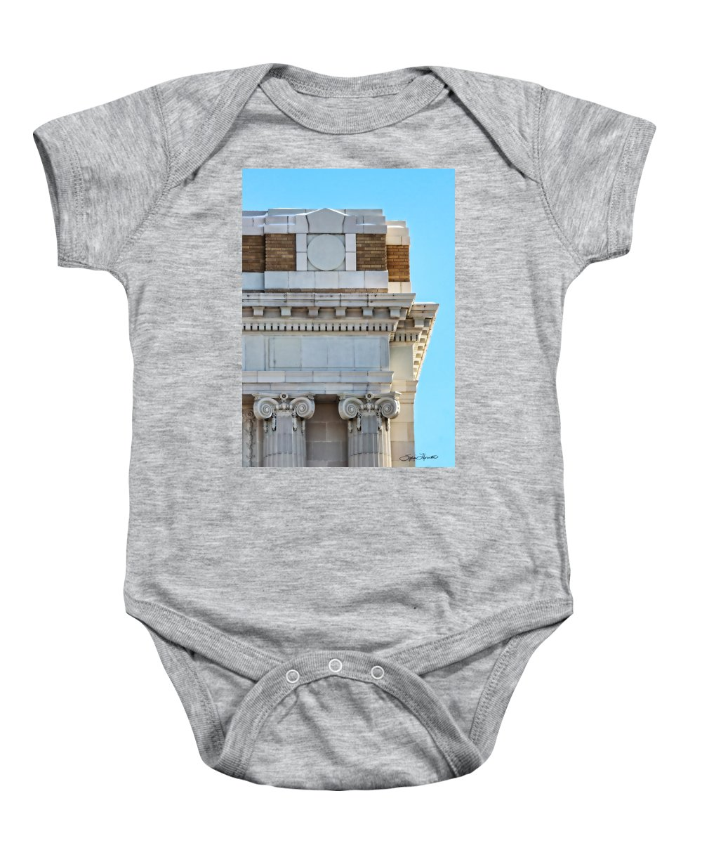 Lincoln County Courthouse Corner Baby Onesie featuring the photograph Lincoln County Courthouse Corner by Sylvia Thornton