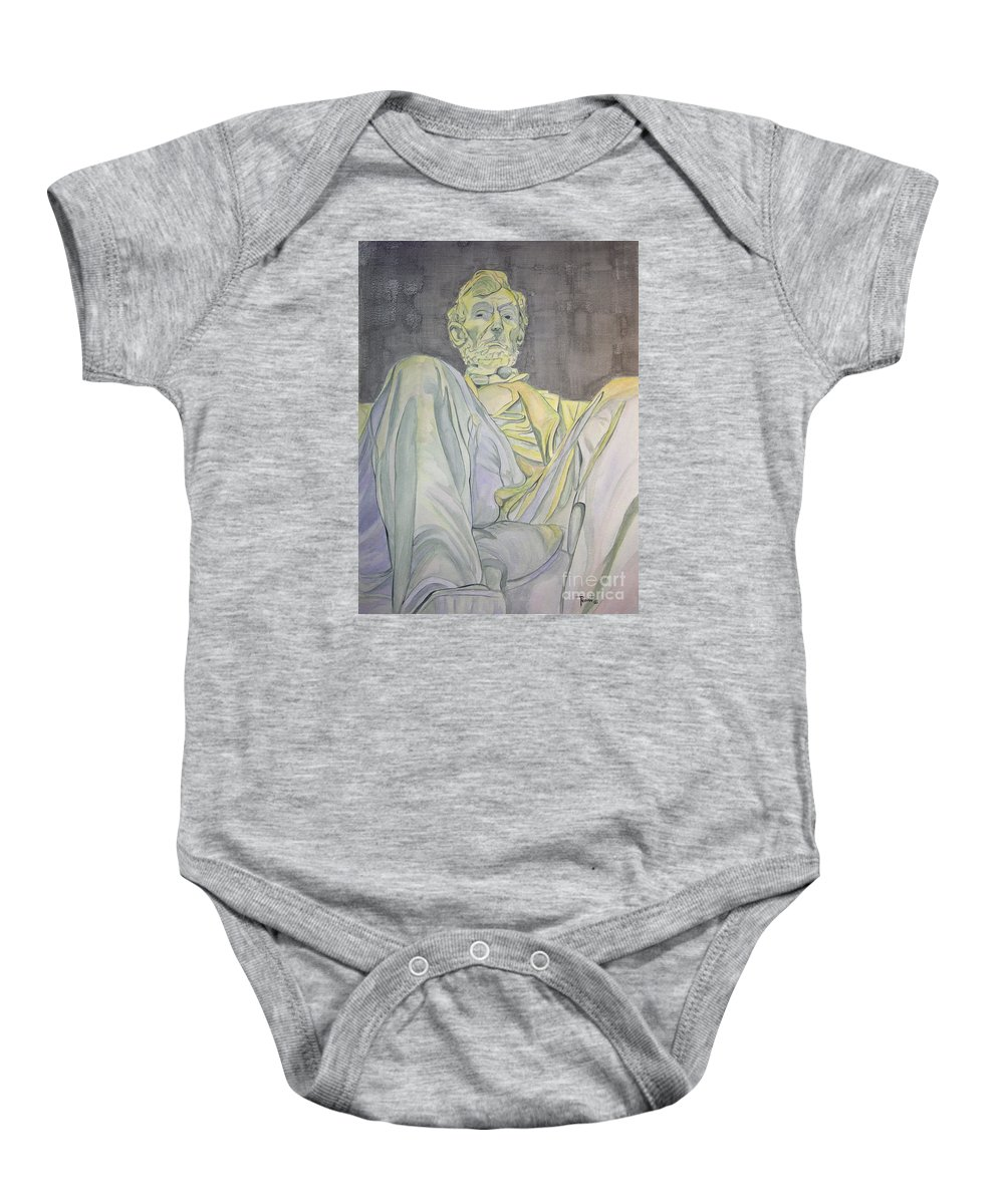 Presidents Baby Onesie featuring the painting Lincoln by Regan J Smith