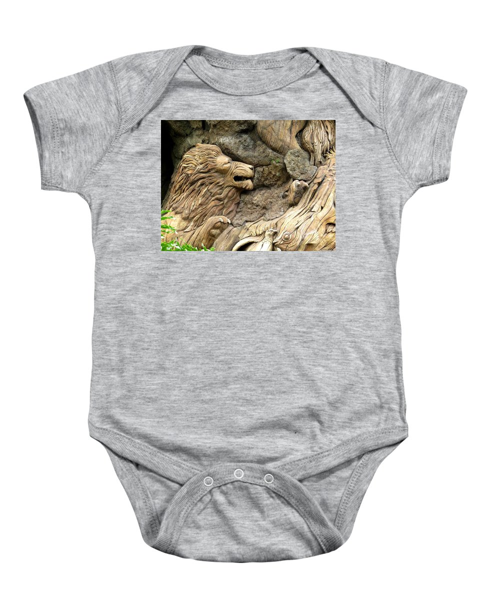 The Tree Of Life Baby Onesie featuring the photograph Lion On The Tree Of Life by Zina Stromberg