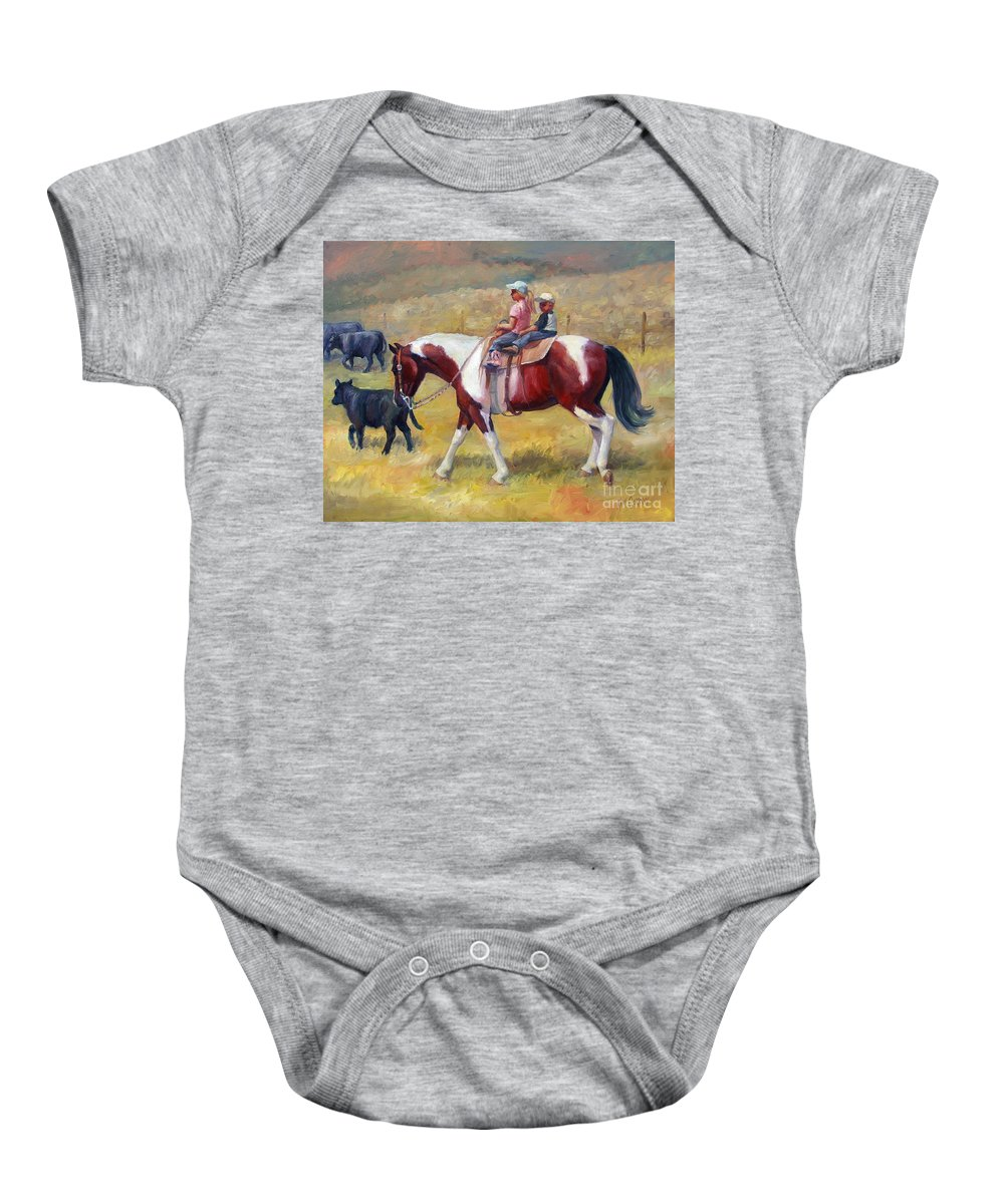 Horse Baby Onesie featuring the painting Little Cowboys Of Ruby Valley Western Art Cowboy Painting by Kim Corpany