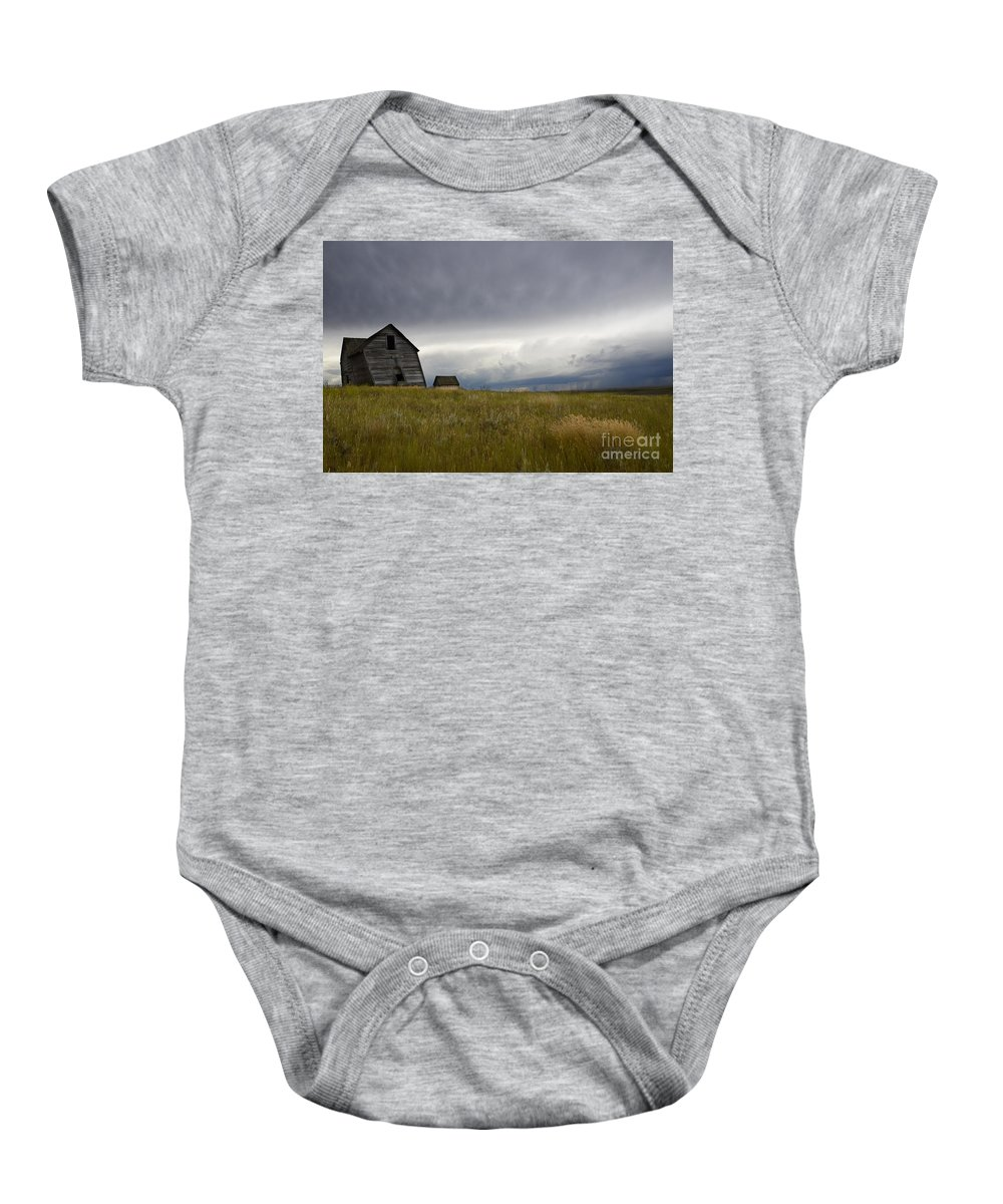 Homestead Baby Onesie featuring the photograph Little Remains by Bob Christopher