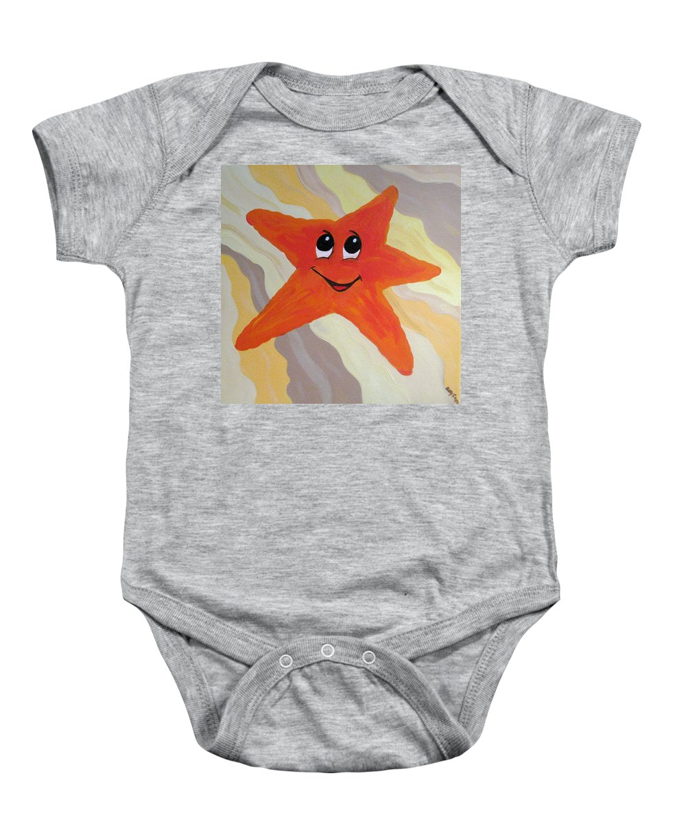 Starfish Baby Onesie featuring the painting Little Starfish by Kelly Simpson