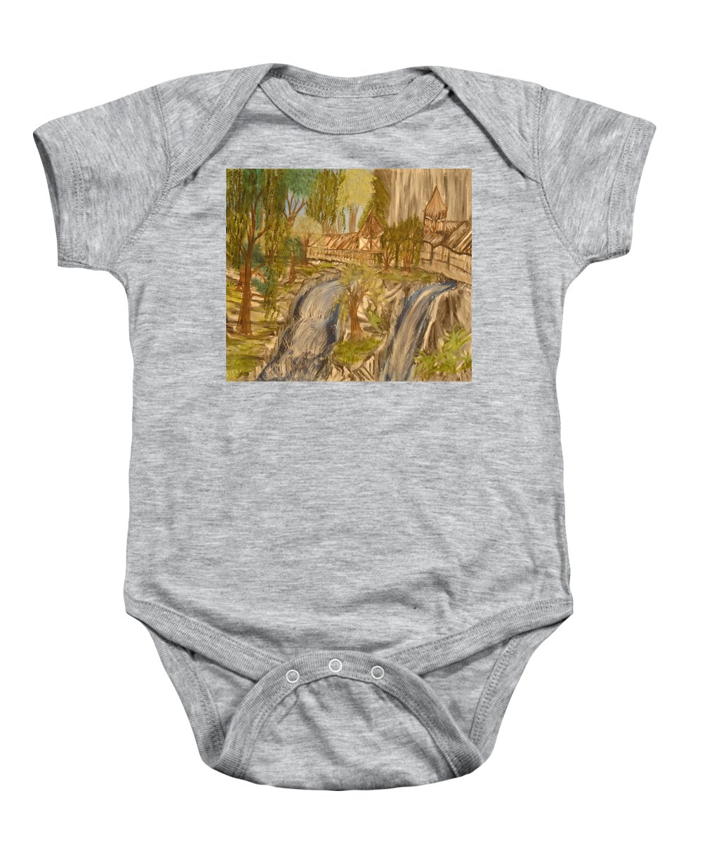 House Baby Onesie featuring the painting Living With Water by Suzanne Surber